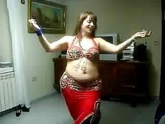 BBW Arab MILF Belly Dancing in a Homemade Video