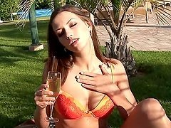 Slim Beauty Fingers Her Pussy Outdoors