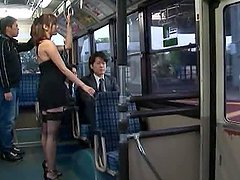 Japanese milf Yuma Asami gets mouth-fucked in a public bus