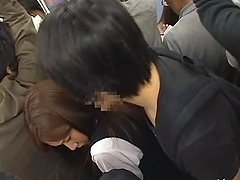 Azumi Mizushima gets her ass covered with cum in a public bus