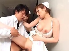 Two sexy Japanese nurses get naked and start riding his cock