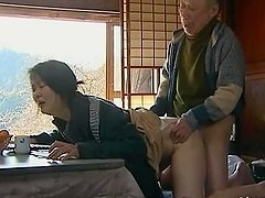 Playful Japanese milf gets balled by a grandpa