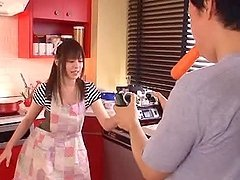 Beautiful Japanese housewife having wild sex in the kitchen