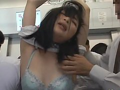 Slutty Yui Igawa blows a cock on public in a bus