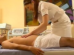 Sexy Japanese woman jerks off a cock and gets nailed
