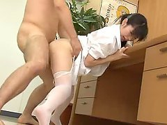 Hot Japanese nurse gets fucked by a doctor in his office