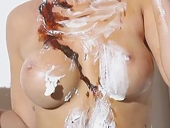 Pretty Sydney Barlette Mixing Chocolate and Whipped Cream with Cherries