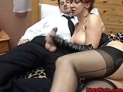 Kinky Dominant Mature Sucks Cock and Gives Footjob To Submissive Guy