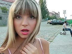 Blonde Russian hottie goes for public fuck in Prague