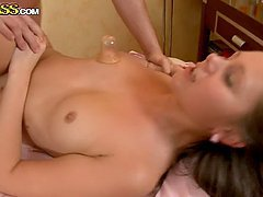 Passionate brown-haired babe having deep vaginal sex