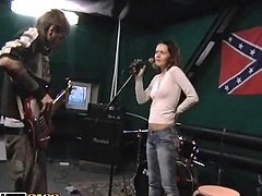 Horny couple having wild sex in the music studio