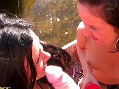 Wild college girls fucking outdoors on the lake
