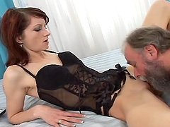 Redhead hottie Cindy G enjoys jumping on Faun's hard prick