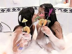 Sexy brunette girls having sex in the bubble bath