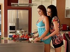 Two stunning babes Aletta and Zafira in the kitchen