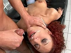 Horny redhead curly haired sweetie Sierra gets it double