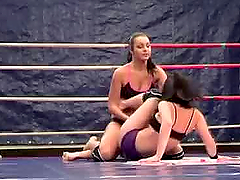 Lexy Little and Lioness fight on a ring and have some lesbian fun