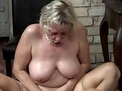 Blonde Granny In Stockings Sucks Cock and Then Gets Fucked