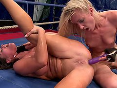 Angel Long and Cathy Heaven play with a dildo after fighting