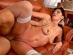Susan enjoys doggy style sex and gets a facial cumshot