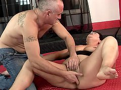 Slutty granny Lawanda gets her hairy pussy toyed and pounded