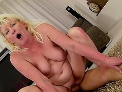 Hot blonde granny Molly Maria gets her pussy stunningly fucked