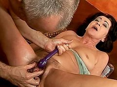 Katala gets her old hairy pussy fisted and fucked with toys