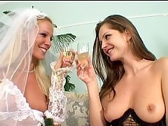 Two slender lesbians married and fucked each other hard