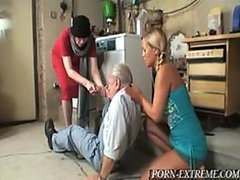 Gorgeous Blonde Teen and Horny Granny Share an Old Man's Cock