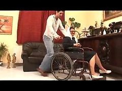 Not-So-Crippled Granny Sucks Cock and Gets Fucked On Her Wheelchair