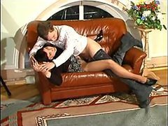 Pantyhose MILF in Glasses Fucked by a Teen Cock