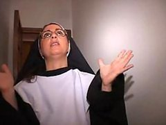 Mature Italian Nun In Red Stockings Gets Facialized in a Hot Threesome