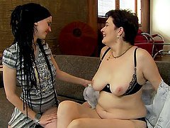 Brunette old bitch and teen have hot lesbian sex