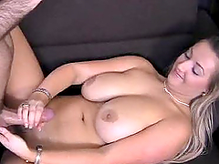 Chubby princess gives royal handjob to her man