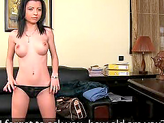 Petite brunette fucks in the casting for a role