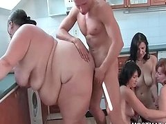 Chubby mature nailed deep from behind at orgy