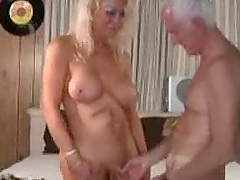 Mature shemale and mature man enjoying sex