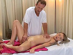 Slim cutie gets seduced and fucked by some lewd masseur