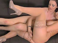 Two hot brown-haired girls have great lesbian sex