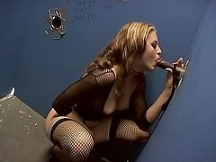 Jade Lashey sucks a BBC through a gloryhole and takes a ride on it