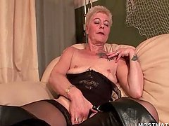 Dirty blonde mature in lingerie teasing bald cunt