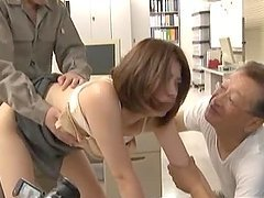 Japanese office girl tries to satisfy her boss and his buddy