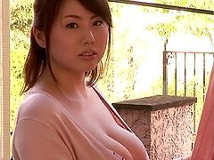 Rin Aoki plays with her massive natural tits and hot pussy