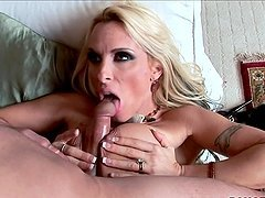 Holly Halston sucks a prick and gets her cunt fucked every which way