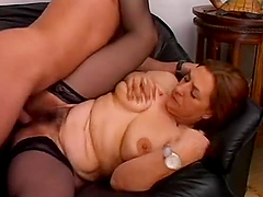 BBW Hairy Mature Woman is in action with a fresh meat