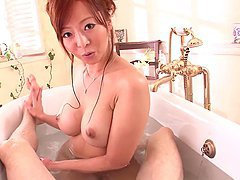Naughty babe sucks and rubs him in the bathtub