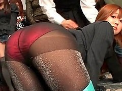 Asian models showing sexy asses in pantyhose