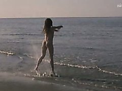Sexy Italian Regina Nemni Dancing Naked at the Beach
