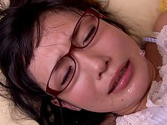 Tsukushi Osawa the Japanese girl in glasses gets pounded