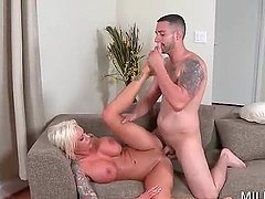 Ash blonde slutty MILF pussy pounded hard on the couch